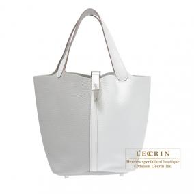 Hermes Picotin Lock casaque bag MM Bi-color Pearl grey/White Clemence leather Silver hardware