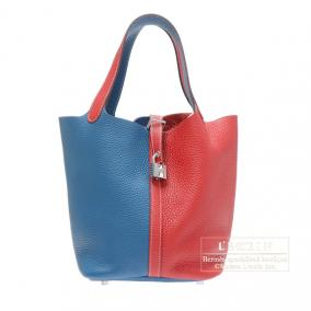 Hermes Picotin Lock casaque bag MM Bi-color Rouge casaque/Blue thalassa Clemence leather Silver hard