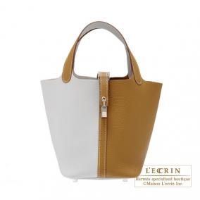 Hermes Picotin Lock casaque bag PM Bi-color Pearl grey/Kraft beige Clemence leather Silver hardware