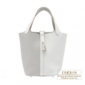 Hermes Picotin Lock casaque bag PM Bi-color Pearl grey/White Clemence leather Silver hardware