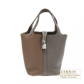 Hermes Picotin Lock casaque bag PM Bi-color Taupe grey/Etain grey Clemence leather Silver hardware