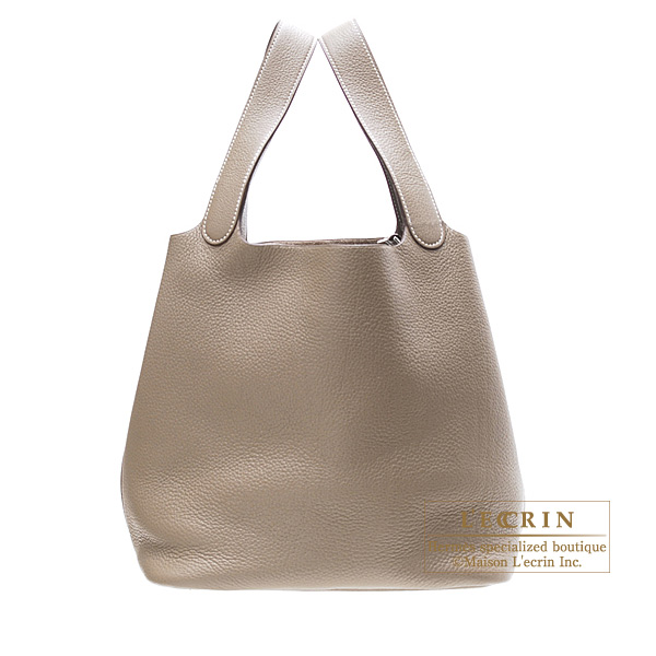 Hermes Picotin bag GM Etoupe/Taupe grey Clemence leather Silver hardware
