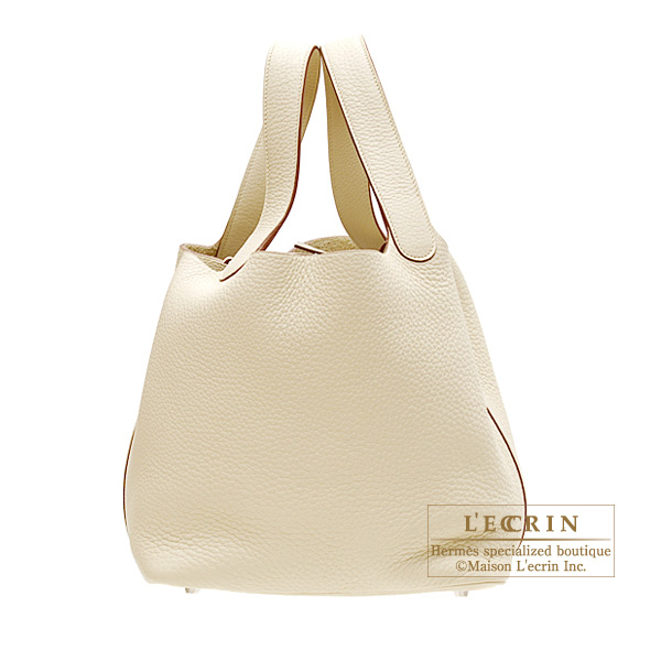Hermes Picotin bag MM Parchemin/Parchment beige Clemence leather Silver hardware