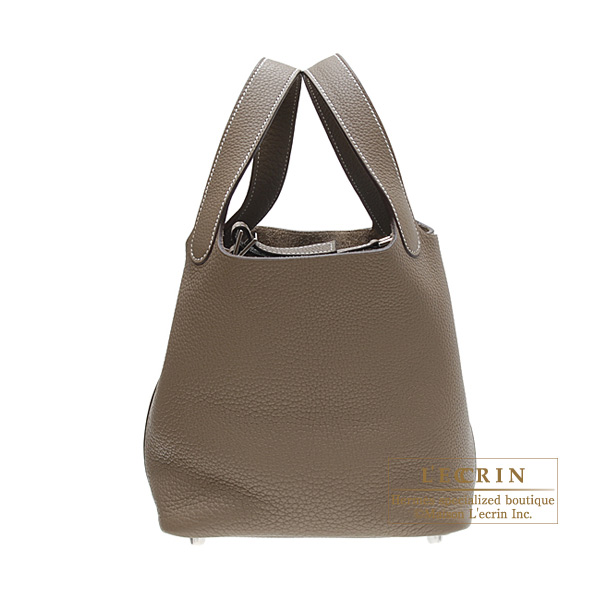 Hermes Picotin bag PM Etoupe/Taupe grey Clemence leather Silver hardware