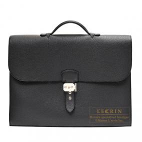 Hermes Sac a depeche 38 briefcase Black Togo leather Silver hardware