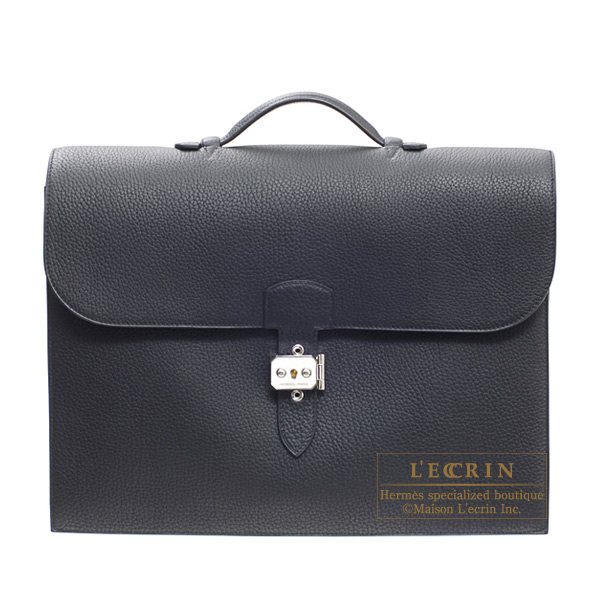 Hermes Sac a depeche 41 briefcase Black Fjord leather Silver hardware