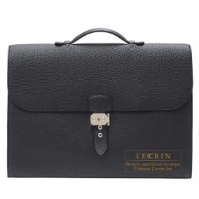 Hermes Sac a depeche 41 briefcase Black Togo leather Silver hardware