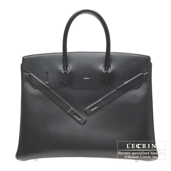 Hermes Shadow Birkin bag 35 Black Evercalf leather Mat Silver hardware
