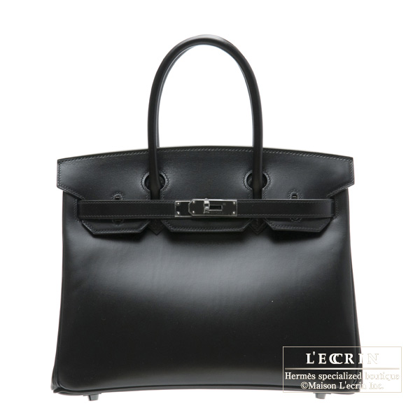 Hermes So-black Birkin bag 30 Box calf leather Black hardware