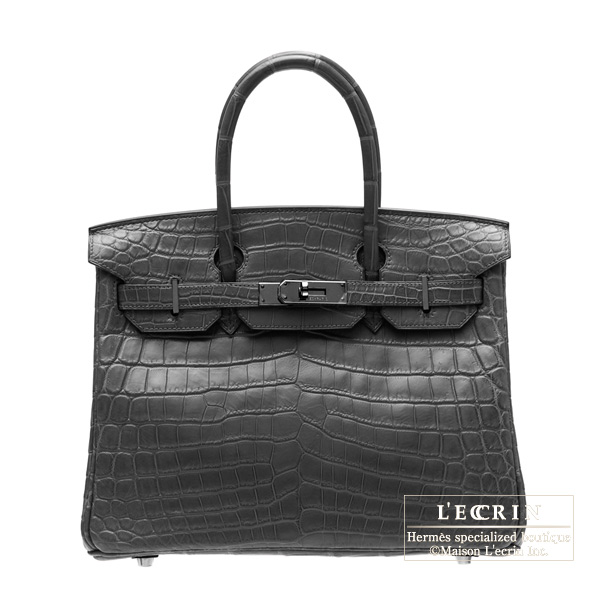 Hermes So-black Birkin bag 30Matt alligator crocodile skin Black hardware