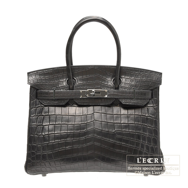 Hermes So-black Birkin bag 30 Matt niloticus crocodile skin Black hardware