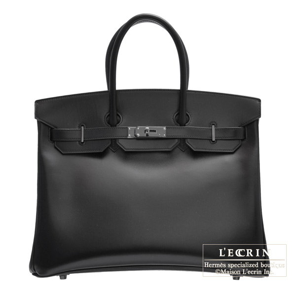 Hermes So-black Birkin bag 35 Box calf leather Black hardware