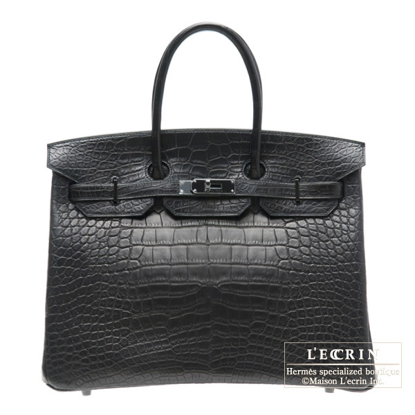 Hermes So-black Birkin bag 35 Matt alligator crocodile skin Black hardware