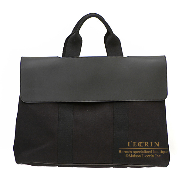 Hermes Valparaiso bag MM Black Cotton canvas with Veau Swift