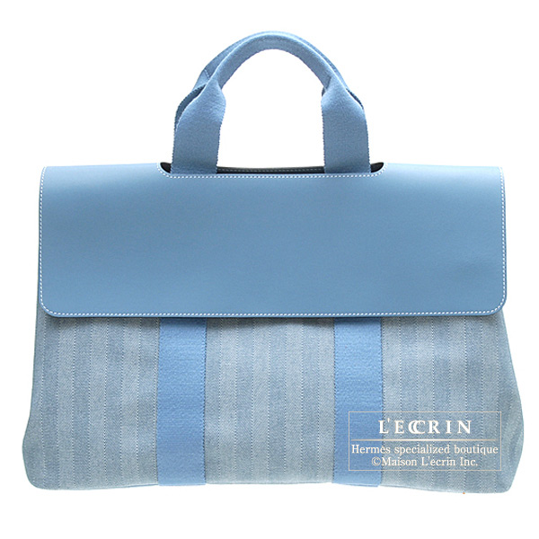 Hermes Valparaiso bag MM Blue jean Cotton canvas with Veau Swift