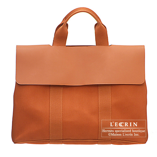 Hermes Valparaiso bag MM Brique Cotton canvas with Veau Swift
