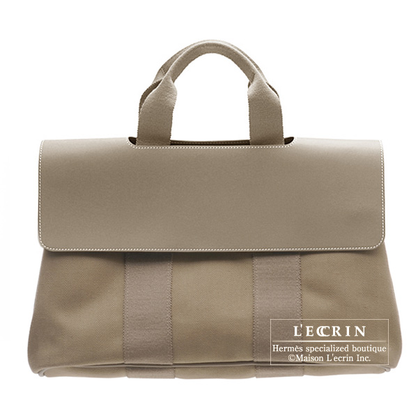 Hermes Valparaiso bag MM Etoupe/Taupe grey Cotton canvas with Veau Swift