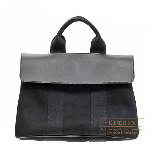 Hermes Valparaiso bag PM Black Cotton canvas with Veau Swift