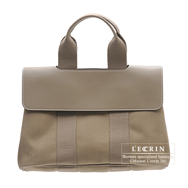 Hermes Valparaiso bag PM Etoupe/Taupe grey Cotton canvas with Veau Swift