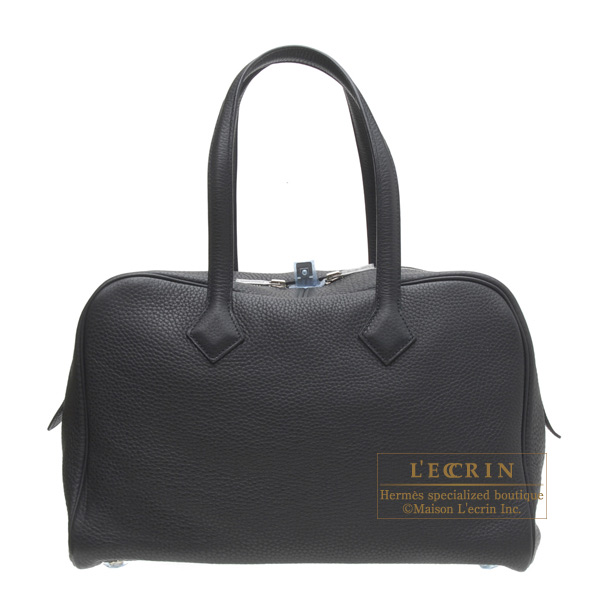Hermes Victoria II 35 tote bagBlack Clemence leather Silver hardware