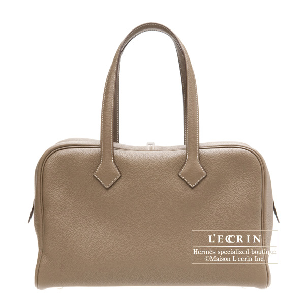 Hermes Victoria II 35 tote bagEtoupe/Taupe grey Clemence leather Silver hardware