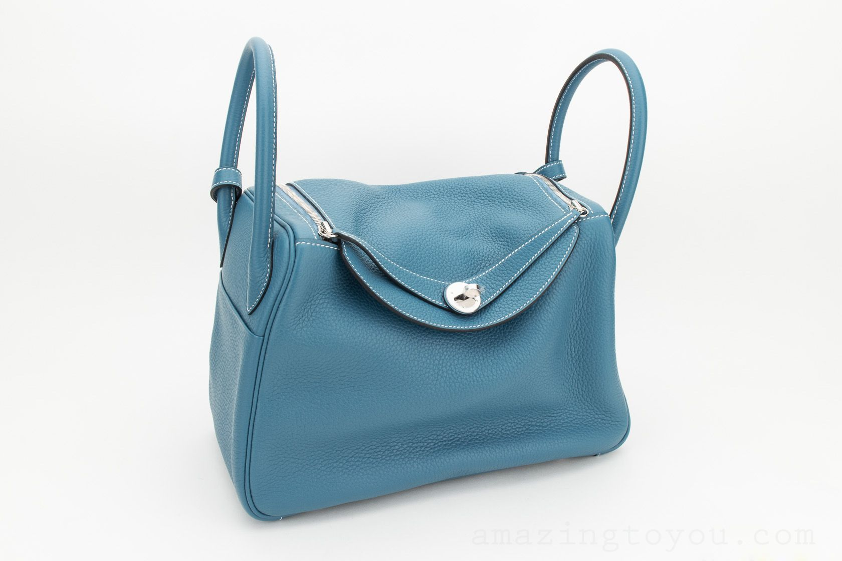Hermes Lindy 30 Blue Jeans Clemence