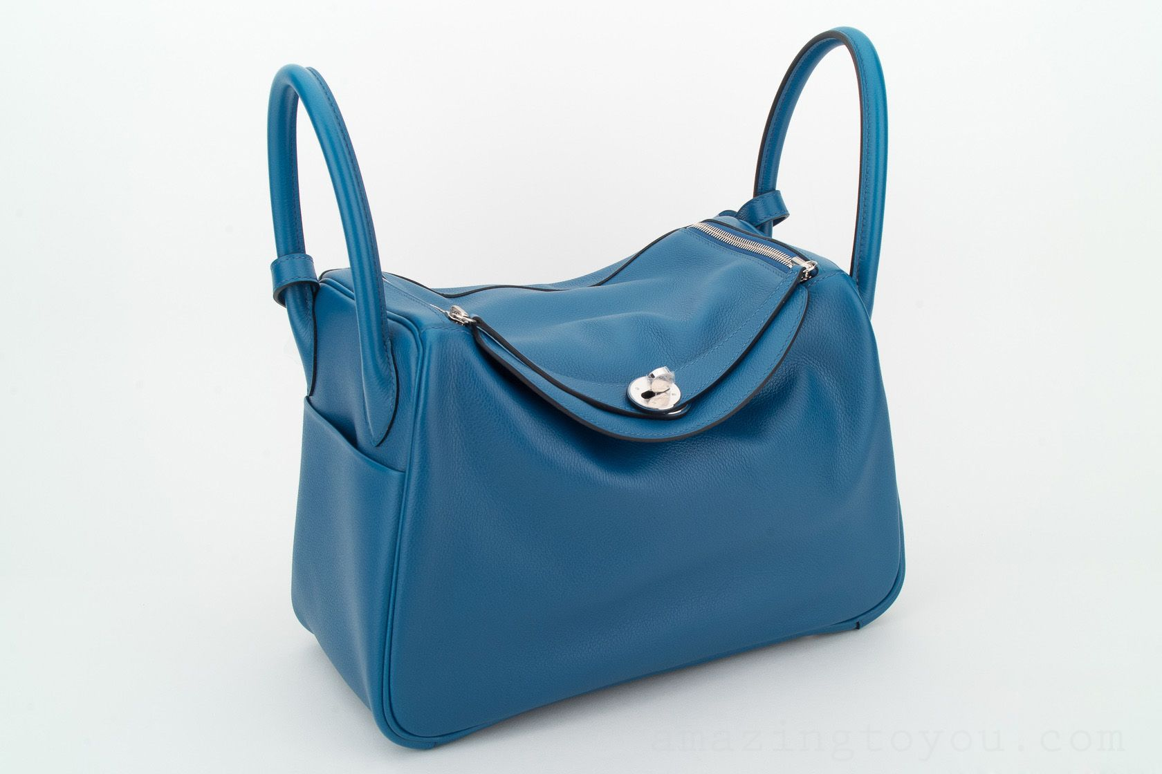 New Hermes Lindy 30 Blue De Galice Evercolor
